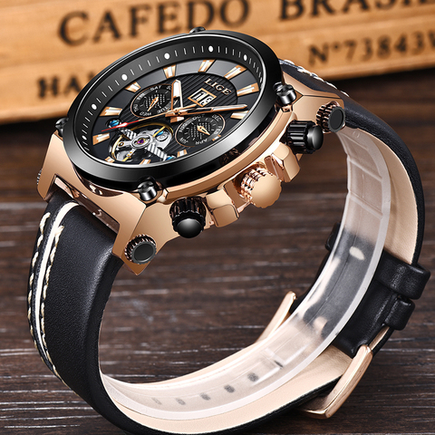 LIGE Fashion Men Watch Top Brand Luxury Automatic Mechanical Watches  Men Casual Leather Waterproof Sport Tourbillon Watches Karachi