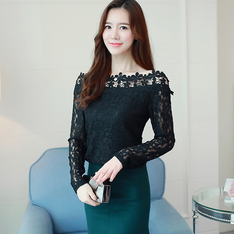 White Lace Blouse Slash neck Hollow off shoulder tops 2018 Floral Women Shirts Blouses Korean Fashion Clothing Blusa De Renda