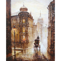 Hand painted No Frame Pictures Painting Wall Art Handmade Europe carriage Streetscape Oil Painting On Canvas Acrylic Pictures
