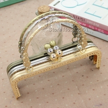KISSDIY 10pcs 20 cm 3 small flower handle sewing purse Metal frames Antique bronze silver golden  kiss clasp bag accessory