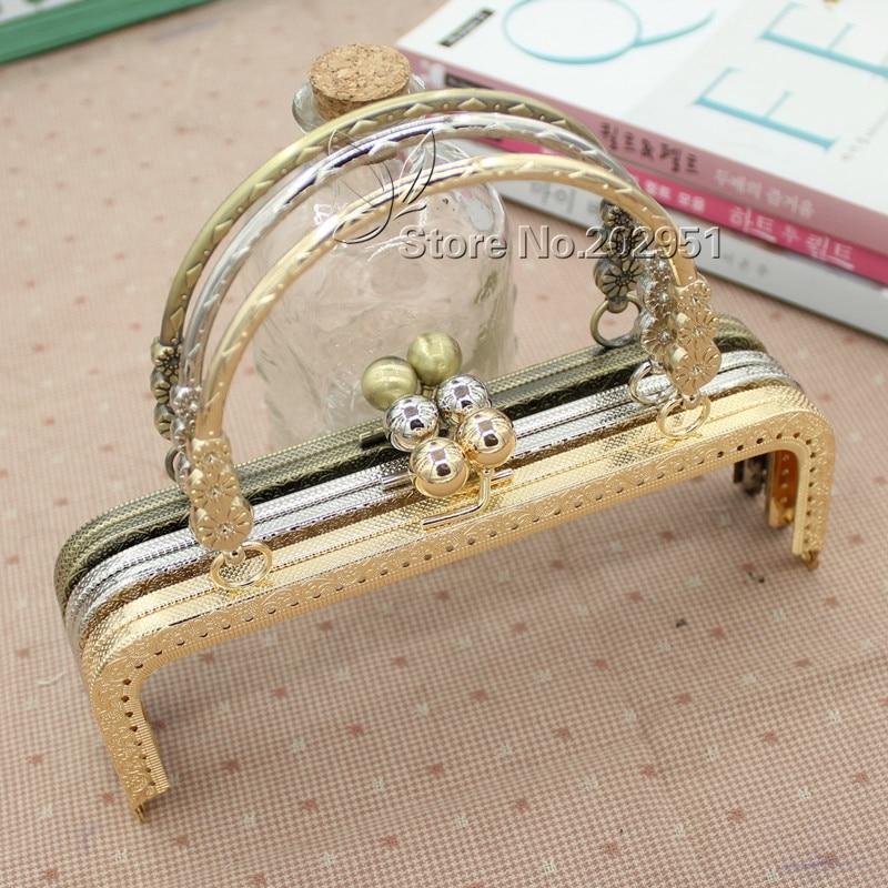 KISSDIY 10 pièces 20 cm 3 petite fleur poignée couture sac à main cadres en métal Antique bronze argent doré baiser fermoir sac accessoire-in Pièces de sacs et accessoires from Baggages et sacs    1