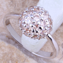 Elegant Champagne Morganite Silver Stamped 925 Style Jewellery Ring Dimension four / 5 / 6 / 7 / eight / 9 Free Reward Bag R1542