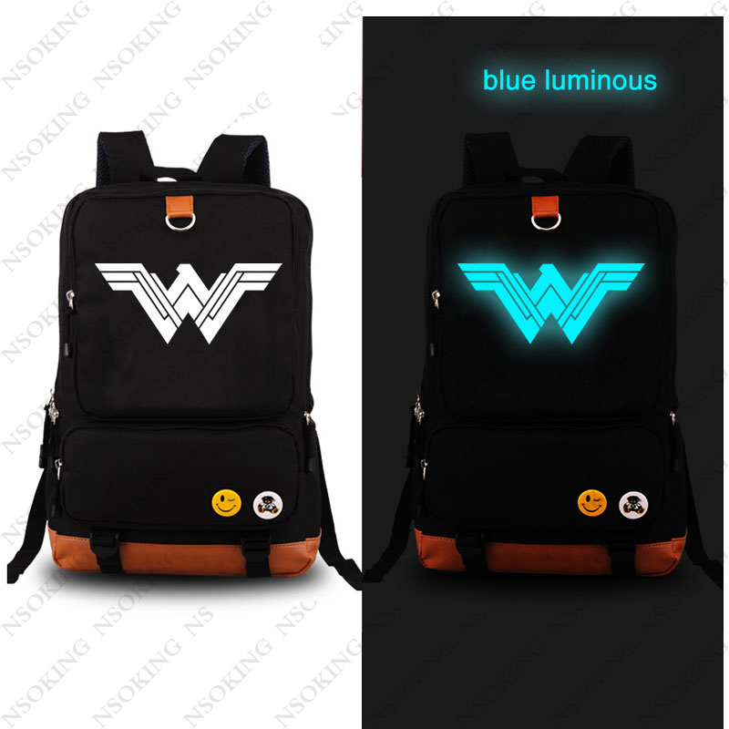 New Superhero Wonder Woman Backpack Fashion Game Canvas Student Luminous Schoolbag Men Unisex Travel Bags