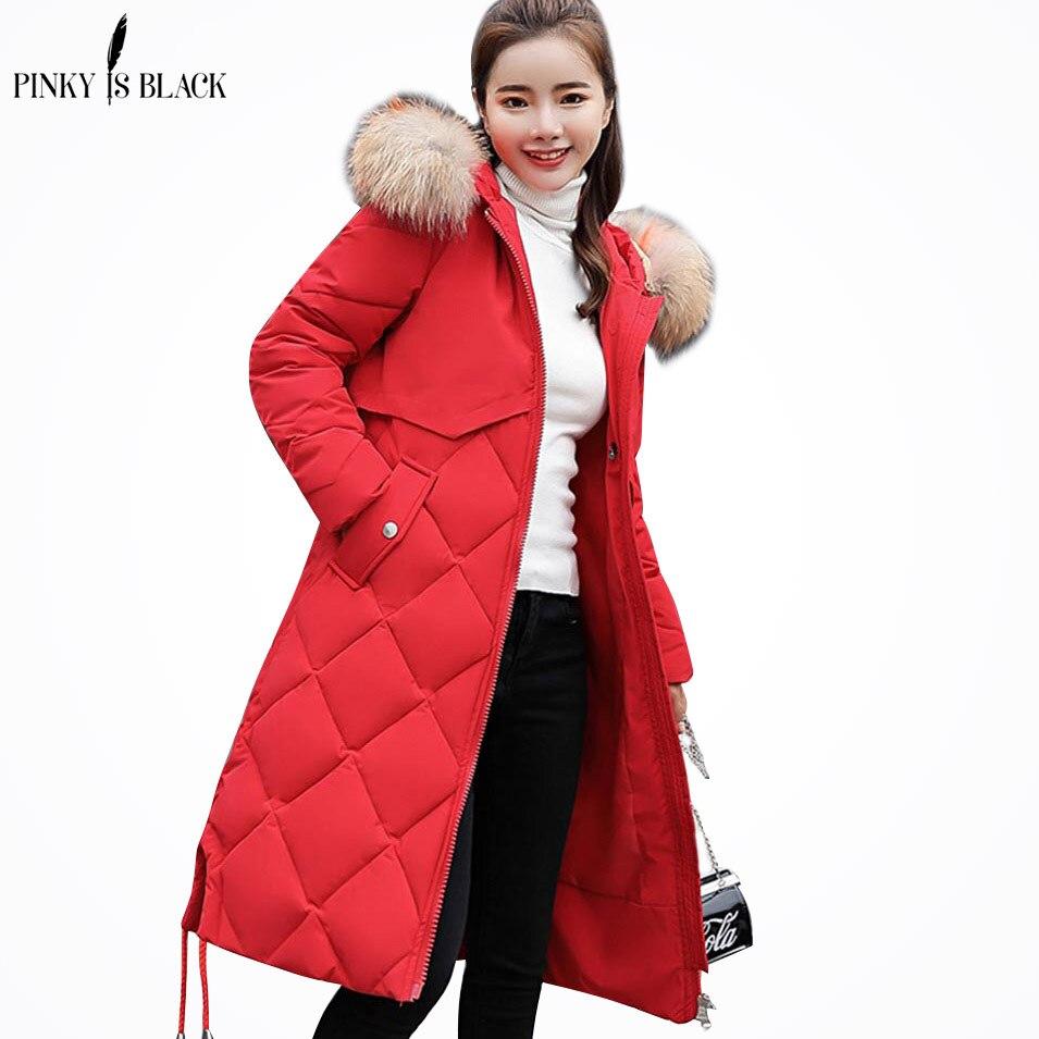 PinkyIsBlack 2018 winter women hooded coat fur collar thicken warm long jacket female plus size outerwear   parka   ladies chaqueta