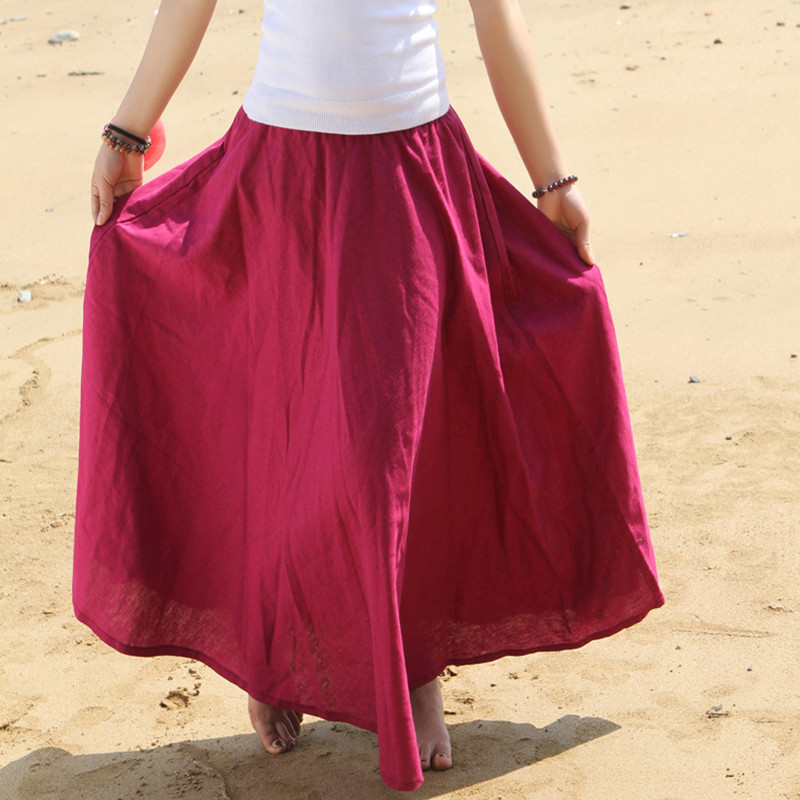Free Shipping 2018 Fashion Women Summer Spring New Linen Cotton Long Maxi Skirt Elastic Waist Bohemian Beach A-line Ladies Skirt