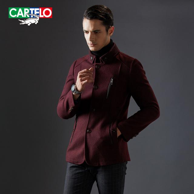 Cartelo marca 2016 nova marca gola dupla casaco de caxemira dos homens casaco de lã blends winter fashion business casual jsjd1608
