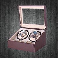 роскошные сша подключите часы моталки коричневый искусственная кожа коллекция коробка для хранения часы дисплей ювелирные изделия автоматическая механическ