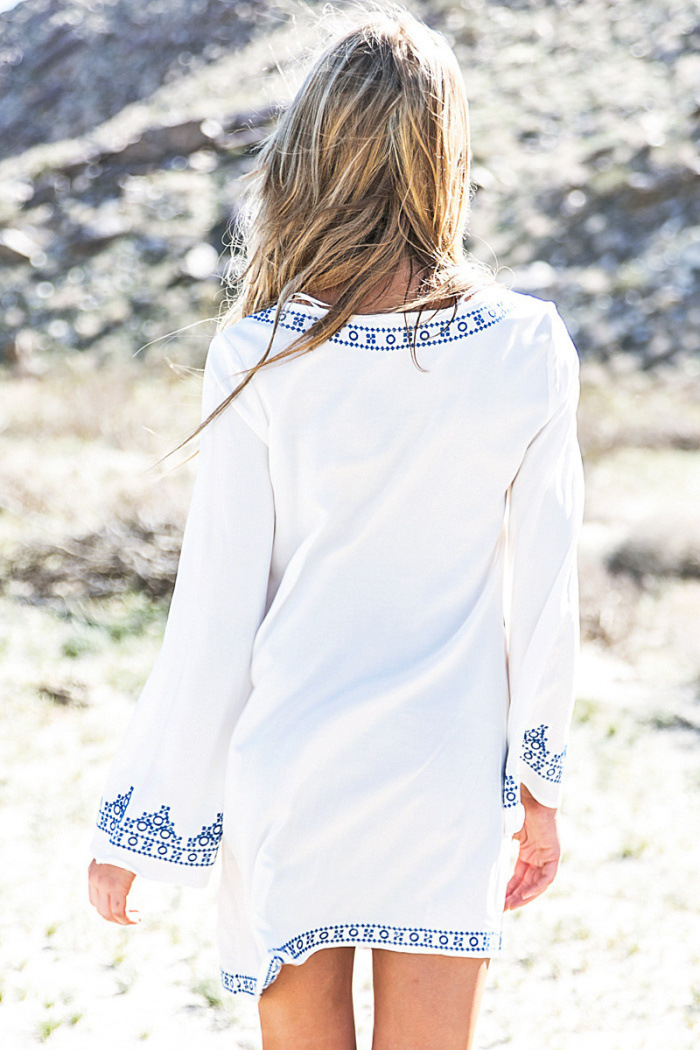 White Embroidery Round Neck Long Sleeve Mini Dress Loose Plus Size Summer Beach Dress Women 2019 Fashion Dress Street Wear Lady in Dresses from Women 39 s Clothing