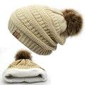 2017 горячий Двойной слой меха мяч cap пом англичане зимнюю hat для женщин девушки шляпа трикотажные шапочки шапка толстый женщина cap
