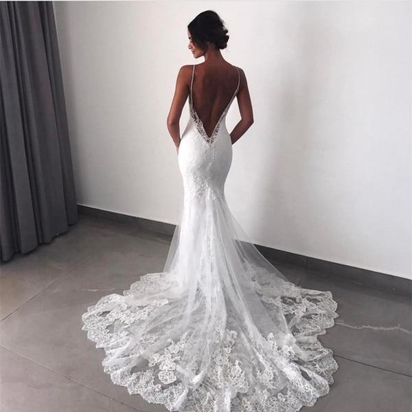 Spaghetti Strap Lace Mermaid Wedding Gowns: Mermaid Wedding Dresses 2019 Lace Train Berta Bridal Gowns
