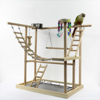 Creative solid wood bird shelf small air station pole parrot interactive playground training solution boring station WF629113