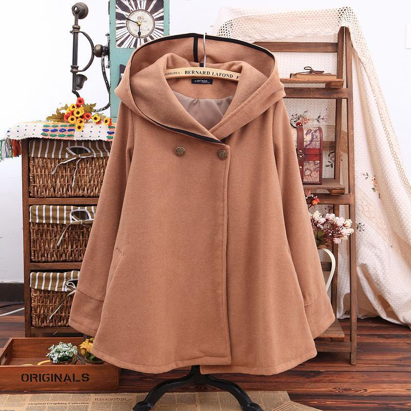 Бесплатная доставка Британский пончо подражали длинные шерстяные пальто манто femme de sigual пальто женщин с капюшоном накидка cloke верхняя одежд... ...
