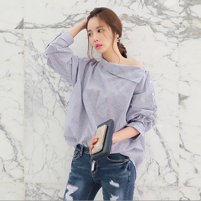 New Fashion Autumn Women Shirts Sexy Batwing Long Sleeve Blue White Casual Striped Tops Slash neck  Loose Blouse Shirt  Clothes
