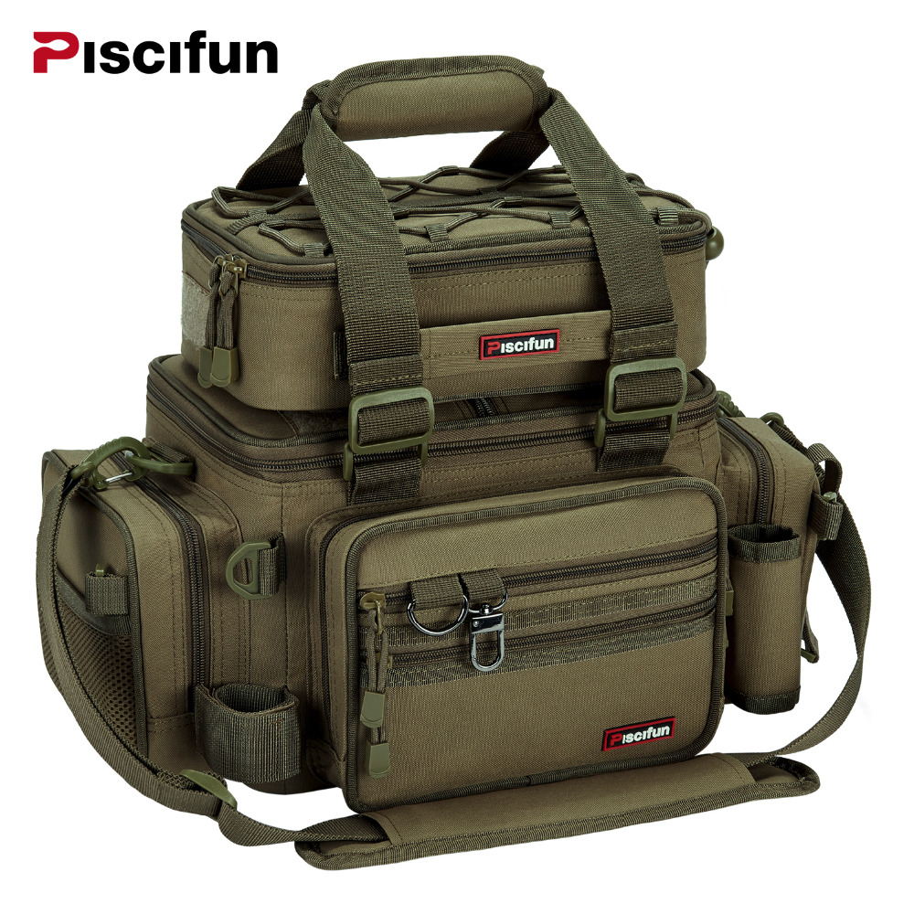 Piscifun Large Capacity Fishing Bag Portable Multifunctional Tackle Box Bag Multipurpose Outdoor Hiking Camping Bolsa De