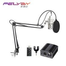 Mikrofon für computer Aufnahme studio Professionelle full BM-800 kondensatormikrofon phantomspeisung USB soundkarte pop Filter