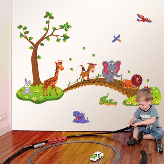 Cartoon Jungle Wild Animal Bridge 60*90cm Wall Area 4