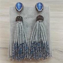 NEW Bohemia Gray Smoke Light Blue Beads 12 Rows Joint Combine Beaded Tassels Dangle Earrings For Women Wedding Party Jewelry