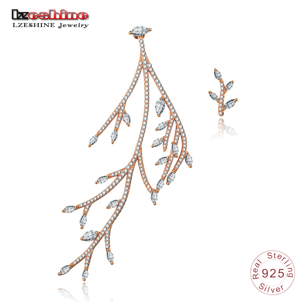 LZESHINE 100% 925 Sterling Silver Tree Branches Earrings With Pave AAA CZ Wedding Bridal Jewelry Stud Earrings Three Color все цены
