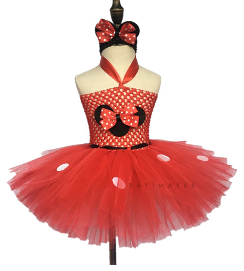 b97d5862e9 Cute Girls Red Cartoon Tutu Dress Baby 2Layer Crochet Tulle Dress with  White Dots and Headband Kids Cosplay Dress Party Tutus