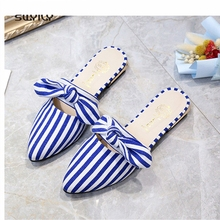 SWYIVY Women's Slippers Bow Striped Mules Shoes Summer 2018 Female Flat Slides Half Slippers Lady Fashion Casual Shoes 40 Size
