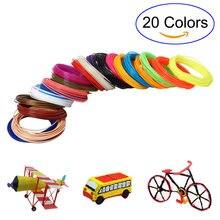 5M 20 Colori 3D Penna Filamento PLA 1.75 millimetri Filamenti di Stampa di Plastica di Gomma per 3D Stampante HJ55