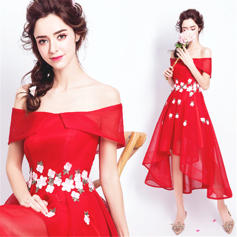 It's YiiYa Cocktail Dress Short Sleeve Flowers High Low Length Party Gowns Boat Neck Zipper Off The Shoulder Formal Dress E200