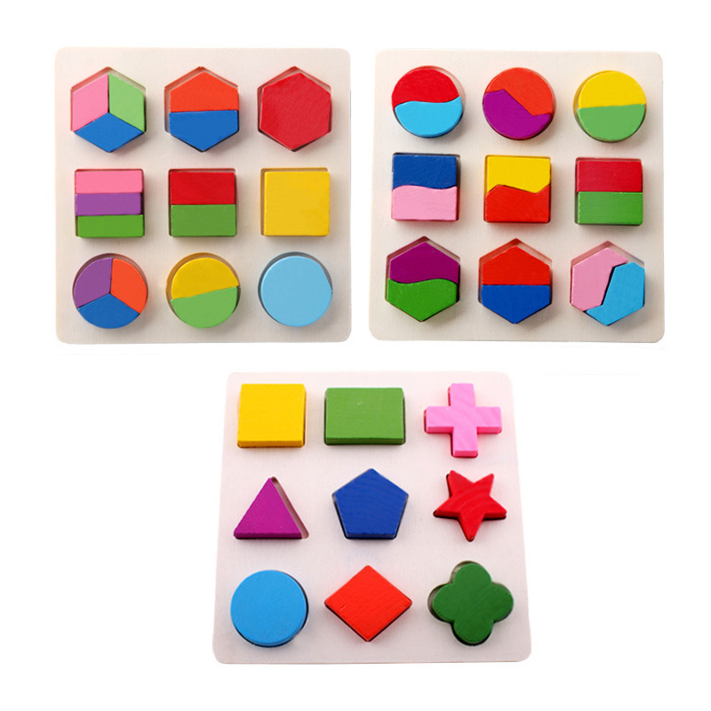3D Wooden Puzzle Kids Toys Colorful Geometry Shape Cognition Montessori Toy Children Wood Puzzle Games Learning Toys