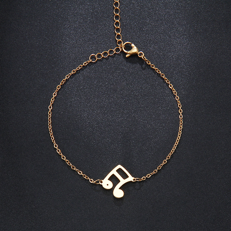 Stainless Steel Bracelet Musical Notes Gold or Silver IMG_2896