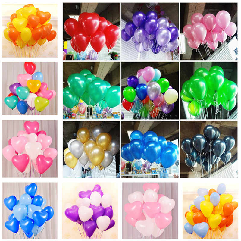 5pcs Heart Latex Balloons 1st Birthday Party Decorations Adult Wedding Favors Gifts Baby Shower Boy Gold Party Supplies Air Ball