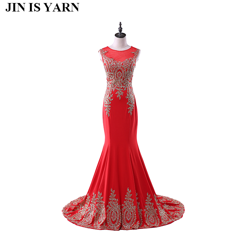 Free Shipping Long Lace Evening Dresses Red Mermaid Dresses Semi Formal Dresses Plus Size Evening Dresses Tailor