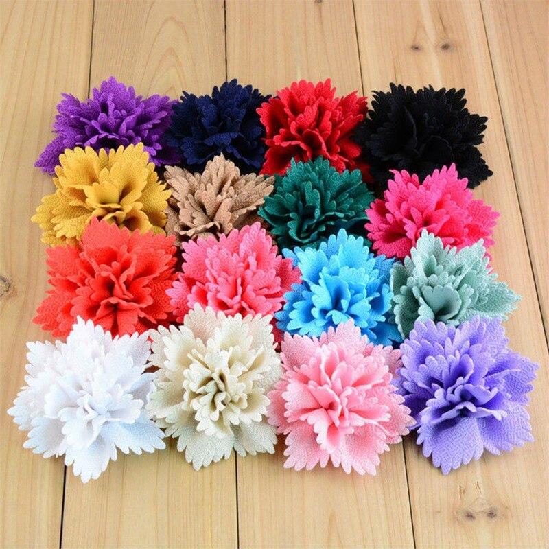 120pcs lot Wholesale 3 15 Handmade Chiffon Fabric Flowers For Wedding Boutique Hair Accessories 16colors U