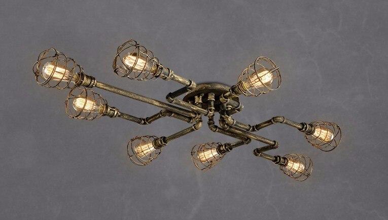 Retro luzes de teto tubulação de ferro