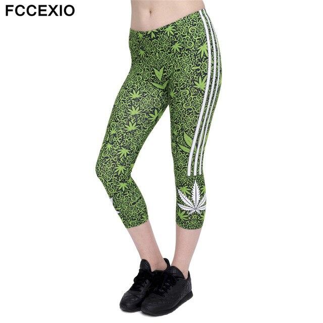FCCEXIO 2018 Summer New Design Women Capri Leggings Weeds White Printed Sexy Mid Calf 3/4 ...