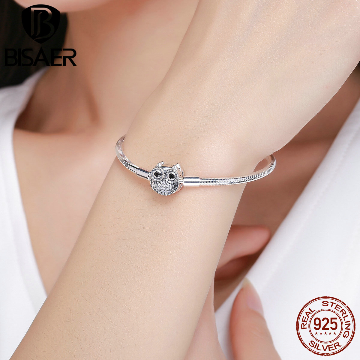 Brand New 100% 925 Sterling Silver Animal Cute Owl Basic Snake Chain Charm Bracelets for Women Sterling Silver Bracelet Jewelry 925 sterling silver expandable bracelet for women vintage lotus charm flowers engraved bracelets