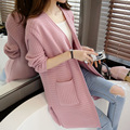 Nuevo Llega la Primavera Y el Otoño de Las Señoras chaqueta de Punto Suéter de Las Señoras de Ocio Color Puro Larga Floja Suéter Ocasional