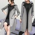 Moda 2017 Corea Oficina Elegantes Mujeres Gabardina Larga Casual Otoño de Gamuza Hembra Cazadora Abrigo Abierto Stitch