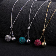 KISS ME Long Necklace 2019 New Thin Alloy Sweater Chain Crystal Ball Pendant Necklace Fashion Jewelry(China)