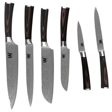 "Comfortable Flowing Sand Wave Stainless Steel  3.5"" Fruit 5"" Utility 5"" 7""  Santoku 8"" Chef 8"" Slicing Kitchen Knives Set"