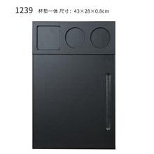 Portapapeles de escritorio de oficina de cuero PU de lujo A4 tableta de dibujo y escritura con ranura para bolígrafo y juego de fijación de taza para conferencia negro