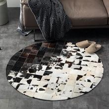 Круглые природных коровьей швом ковер, натуральная коровы кожи меха ковер для гостиной спальня украшения американский стиль