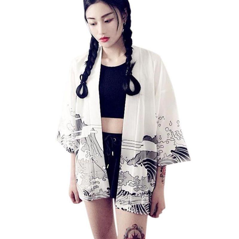 Women Japanese Harajuku style waves and wind dragon Japanese kimono print chiffon Blouses & Shirts