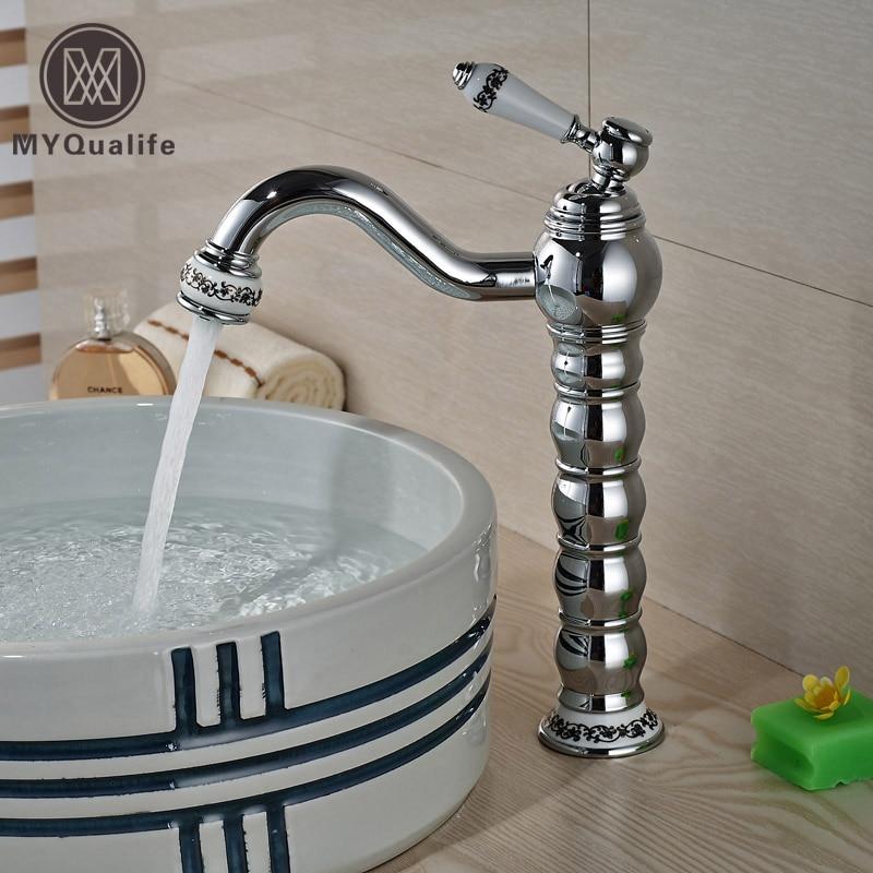 Creative Desing Brass Bathroom Hot Cold Vanity Sink Faucet Deck Mount One Handle Basin Mixer Tap Chrome Finish deck mount creative design basin sink faucet single handle chrome hot cold water vanity sink mixer taps