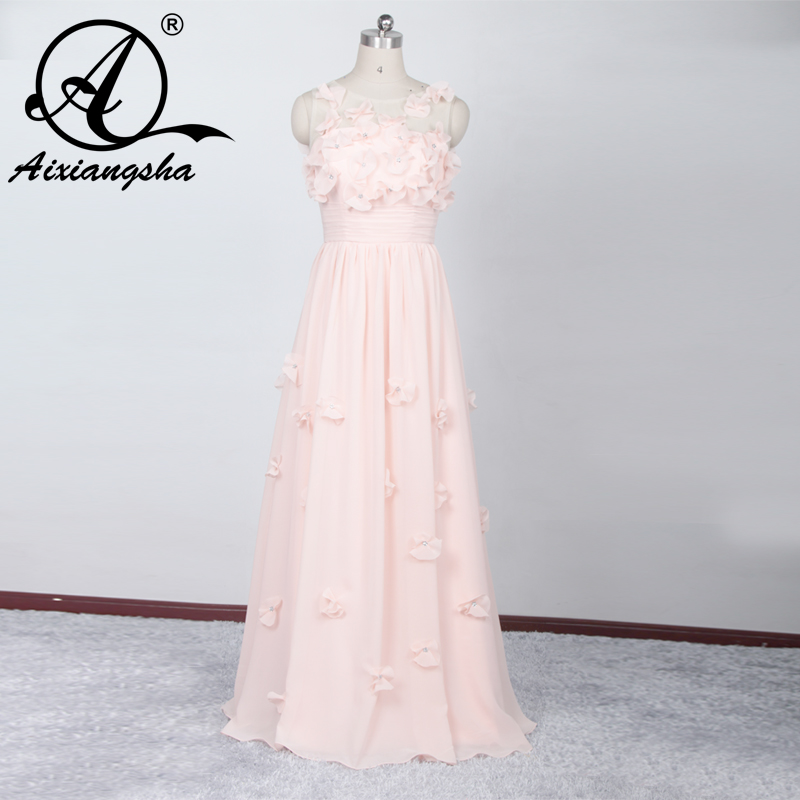 Beautiful Pink Color Prom Dresses 2018 Most Popular With Flower Plus