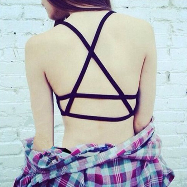 Cool Celebrity Sexy Women Hollow Out Caged Back Cut Out Padded Bra Crop Top Tanks 2018