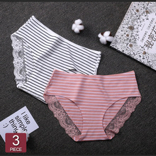 2019 Women Cotton Striped Panties Lace Trim Ladies Boyshort Breathable Safety Female Underwear Middle Waist Girls Boxer Shorts striped lace trim panties