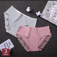 904f984a4bd 2019 Women Cotton Striped Panties Lace Trim Ladies Boyshort Breathable  Safety Female Underwear Middle Waist Girls Boxer Shorts
