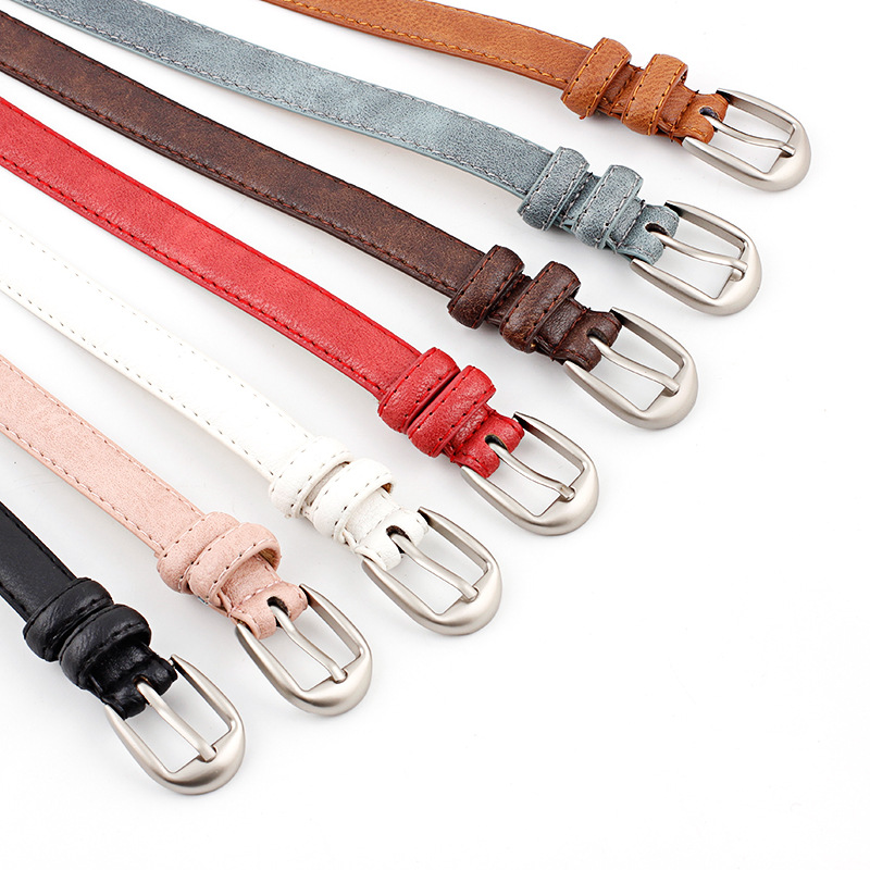 Fashion Red White Metal Pin Buckle Thin Casual Belt For Women PU Leather Belt Female Straps Waistband For Apparel Accessories in Women 39 s Belts from Apparel Accessories