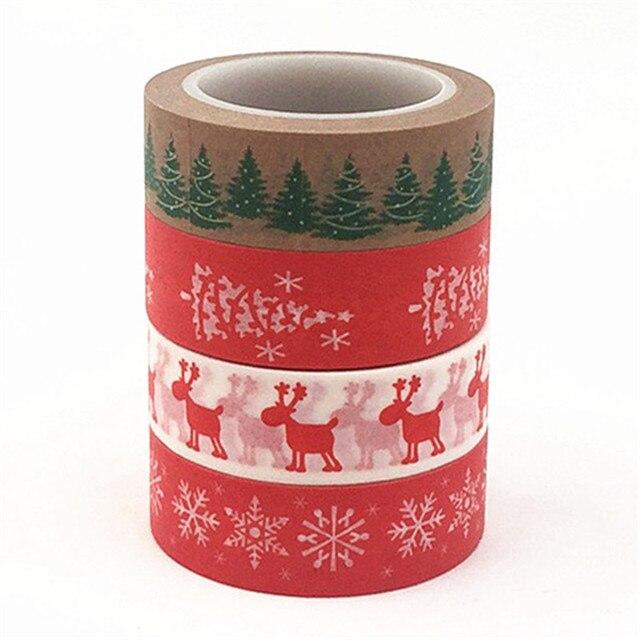 15mm X 10 m Árbol de la Esperanza DIY alce Navidad Presente decorativo Washi cinta DIY Scrapbooking cinta adhesiva oficina escolar suministro de