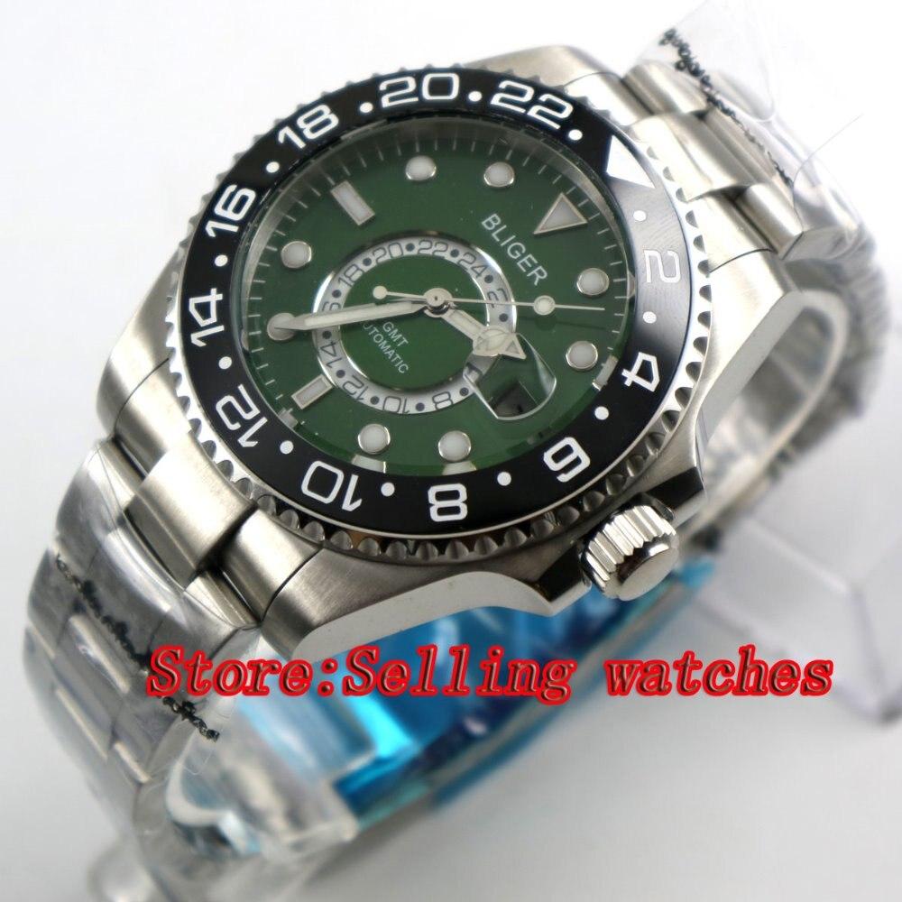 43mm Bliger Stainless Steel Case green Dial black Ceramic Bezel Luminous Mechanical Mens Wristwatch