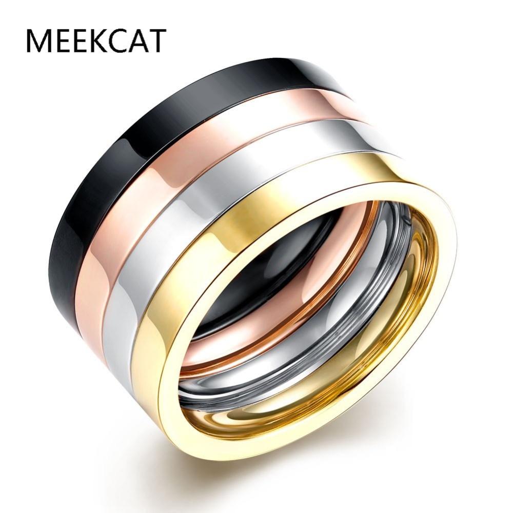 4 Layers Punk Couple Ring SET Rose Gold Color 316L Titanium Ring anel masculino Steel Ring Men Women Bijoux Bague Gift 4pcs
